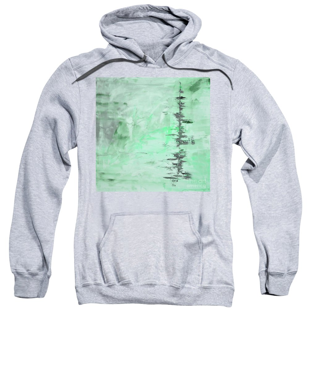 Green Sweatshirt featuring the painting Green Gray Abstract by Voros Edit