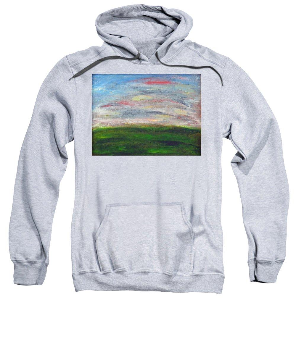 Palozzi Sweatshirt featuring the painting Green Hill by John Vincent Palozzi