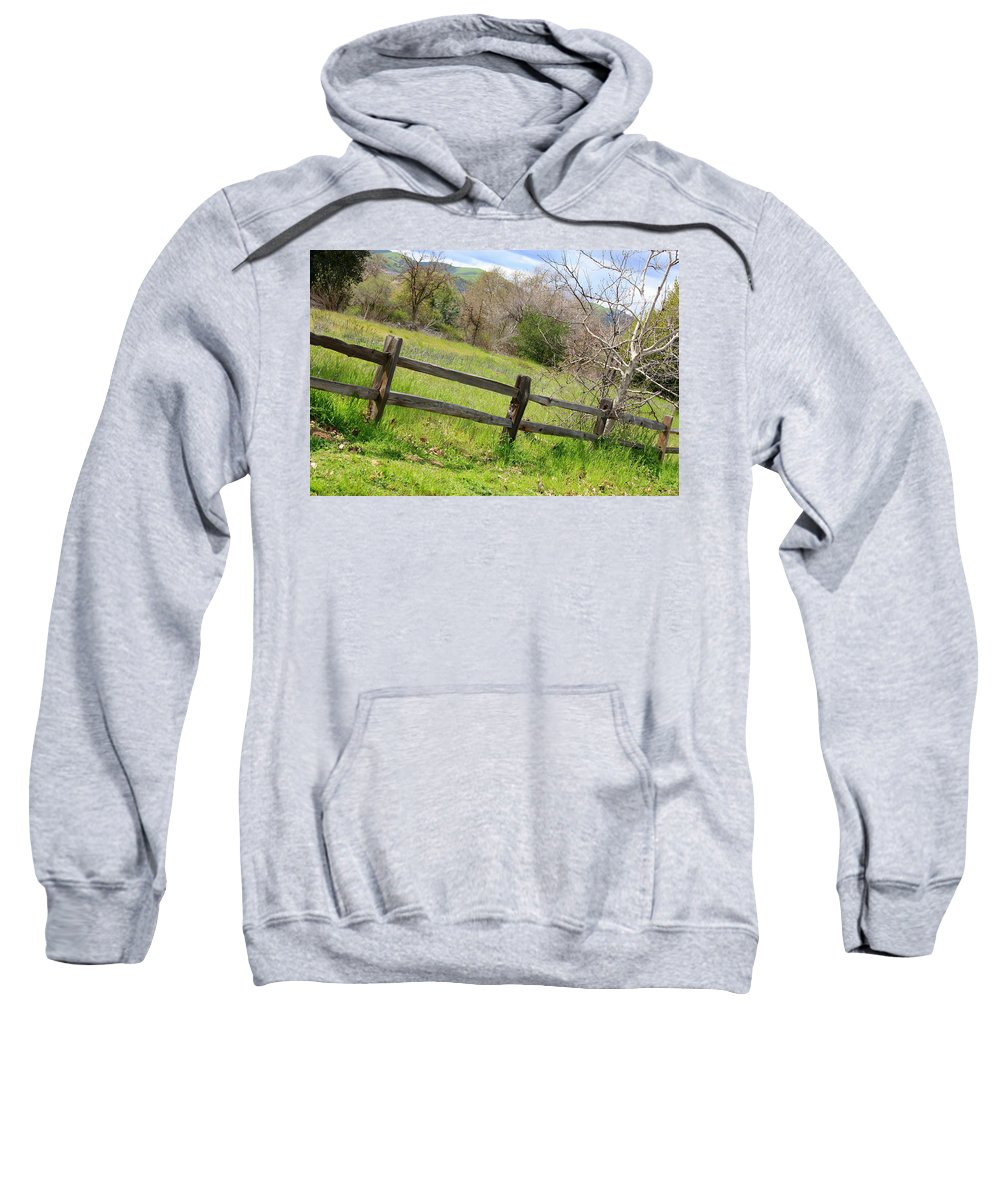 Landscape Sweatshirt featuring the photograph Green Hills And Rustic Fence by Carol Groenen