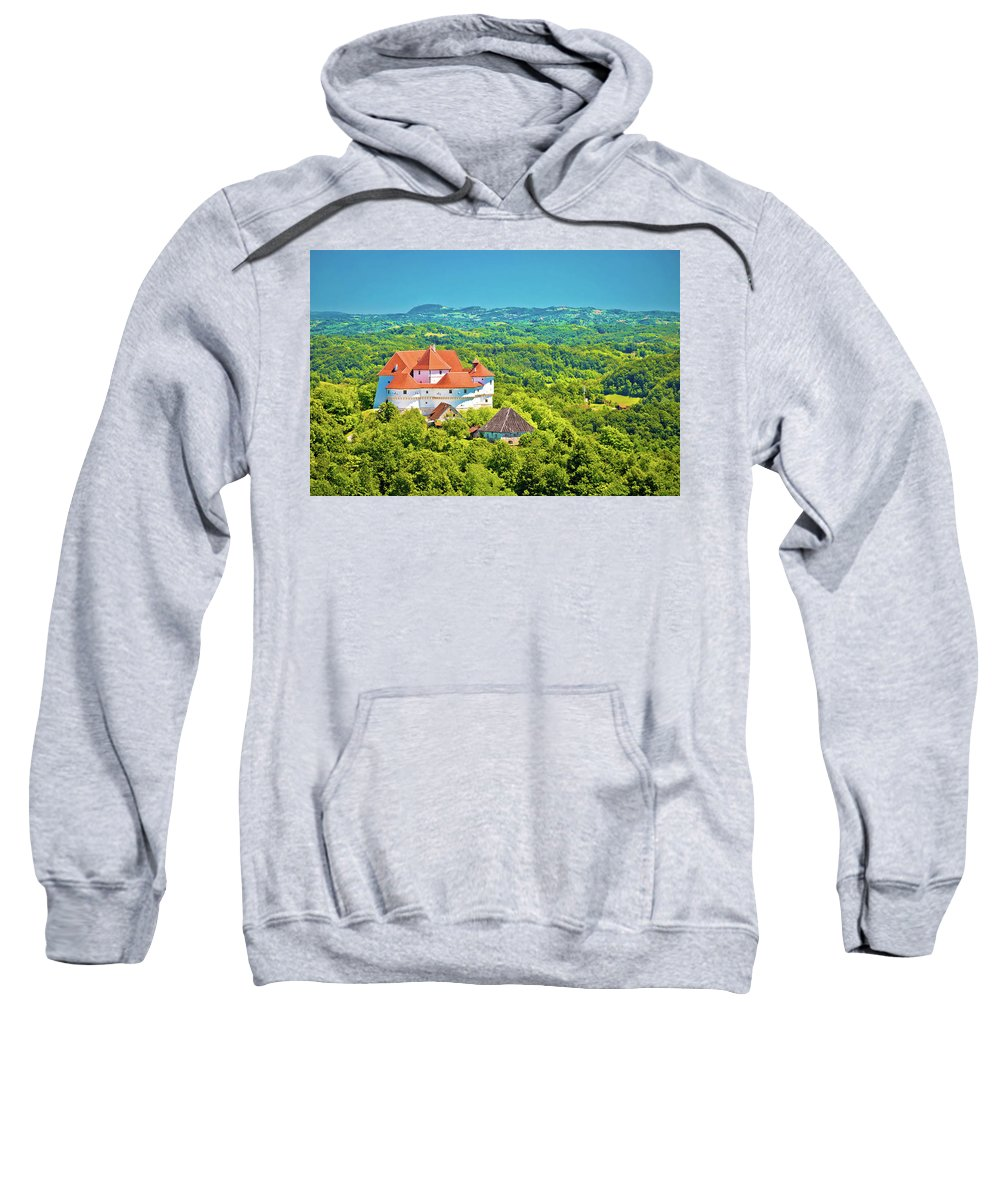 Veliki Tabor Sweatshirt featuring the photograph Green Hills Of Zagorje Region And Veliki Tabor Castle View by Brch Photography