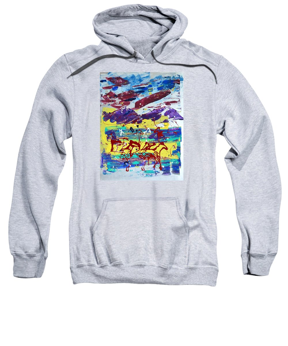 Horses Grazing Sweatshirt featuring the painting Green Pastures And Purple Mountains by J R Seymour