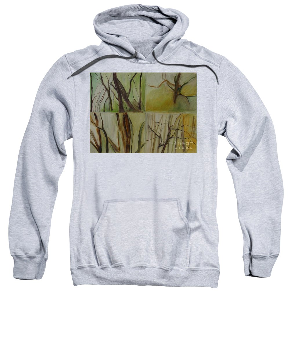 Spring Young Trees Saplings Trees Sweatshirt featuring the painting Green Sonnet by Leila Atkinson