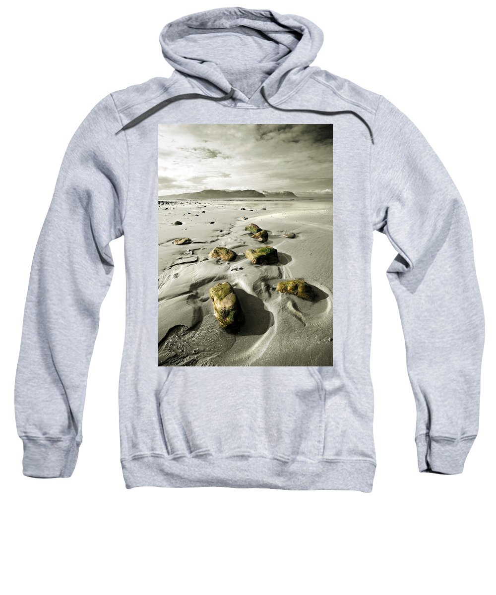 Beach Sweatshirt featuring the photograph Green Stones On A North Wales Beach by Mal Bray