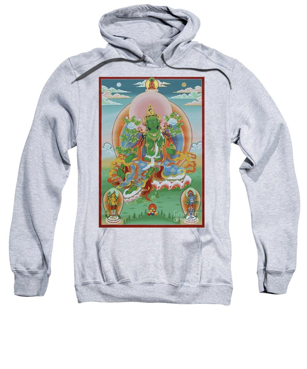 Thangka Sweatshirt featuring the painting Green Tara With Retinue by Sergey Noskov