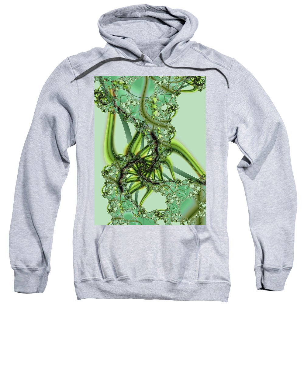 Fractal Sweatshirt featuring the digital art Green Vines by Frederic Durville