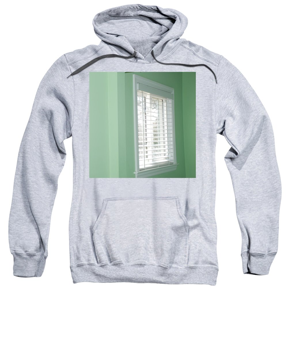 Architecture Sweatshirt featuring the photograph Green Wall White Window by Rob Hans