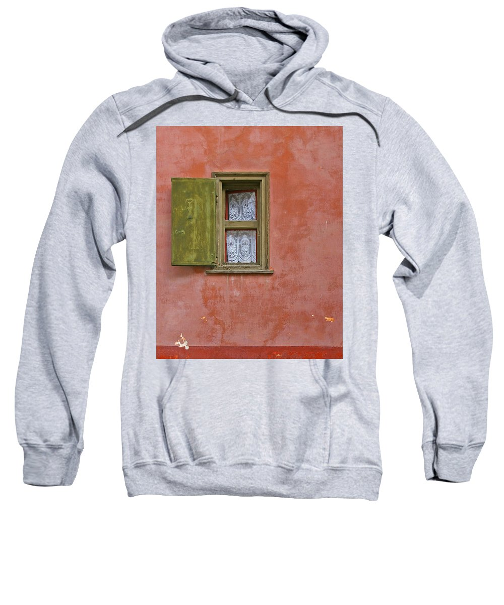 Red Sweatshirt featuring the photograph Green Window On A Red Wall by Tom Reynen