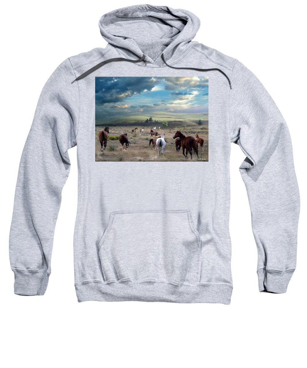 Horses Sweatshirt featuring the mixed media Greener Pastures by Bill Stephens