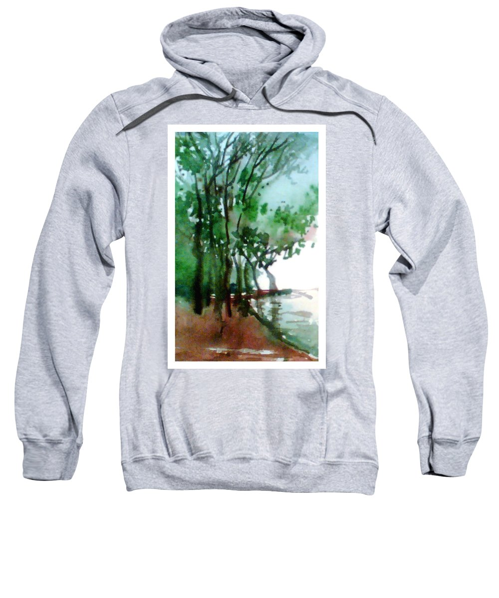 Water Color Sweatshirt featuring the painting Greens by Anil Nene