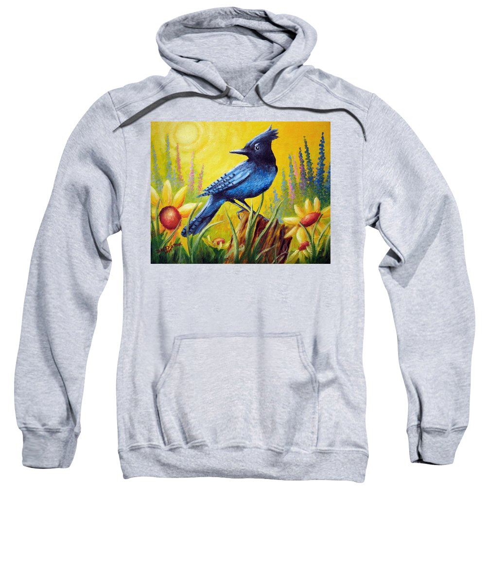 Bird Sweatshirt featuring the painting Greeting The Day by David G Paul