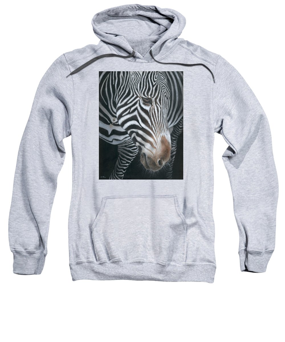Wildlife Sweatshirt featuring the painting Grevy's Zebra by Edmund Price