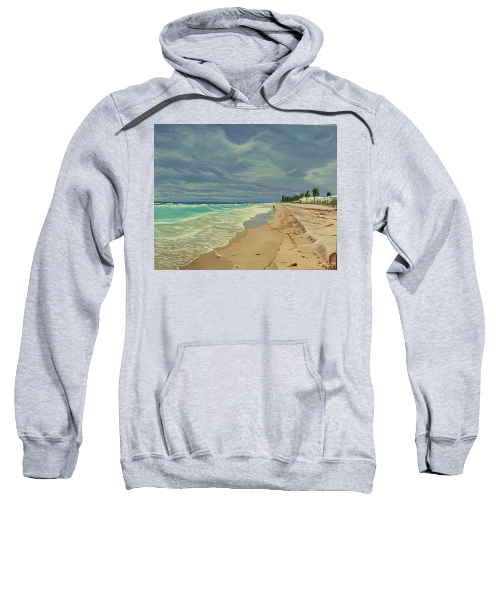 Beach Sweatshirt featuring the painting Grey Day on the Beach by Lea Novak