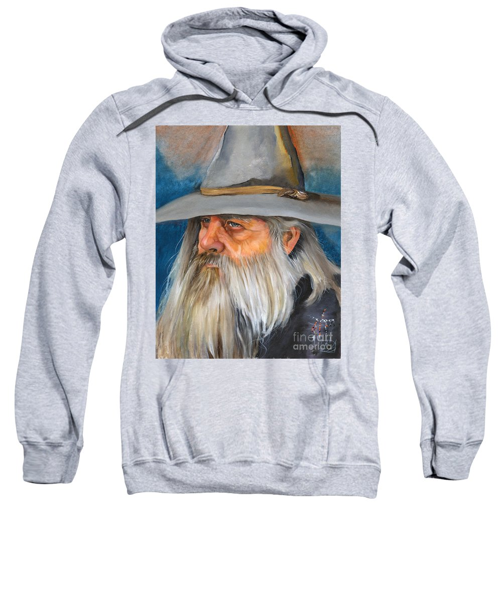 Wizard Sweatshirt featuring the painting Grey Days by J W Baker