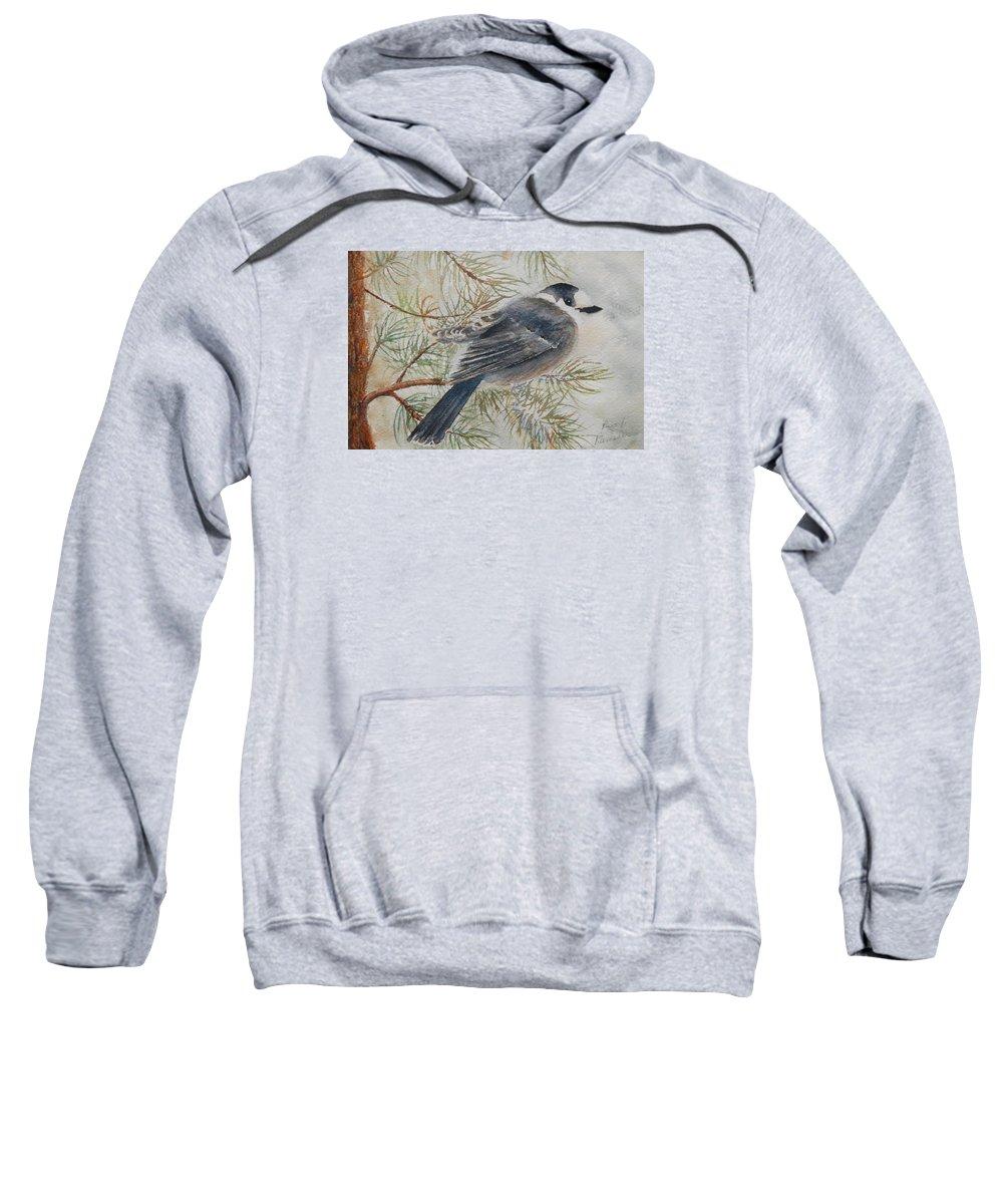 Bird Sweatshirt featuring the painting Grey Jay by Ruth Kamenev