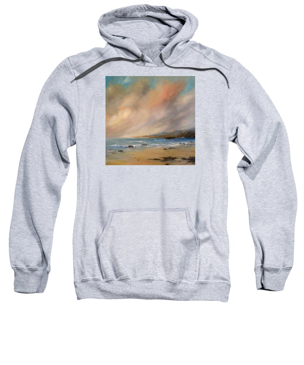 Seascape Sweatshirt featuring the painting Grey Skies by Petra Ackermann