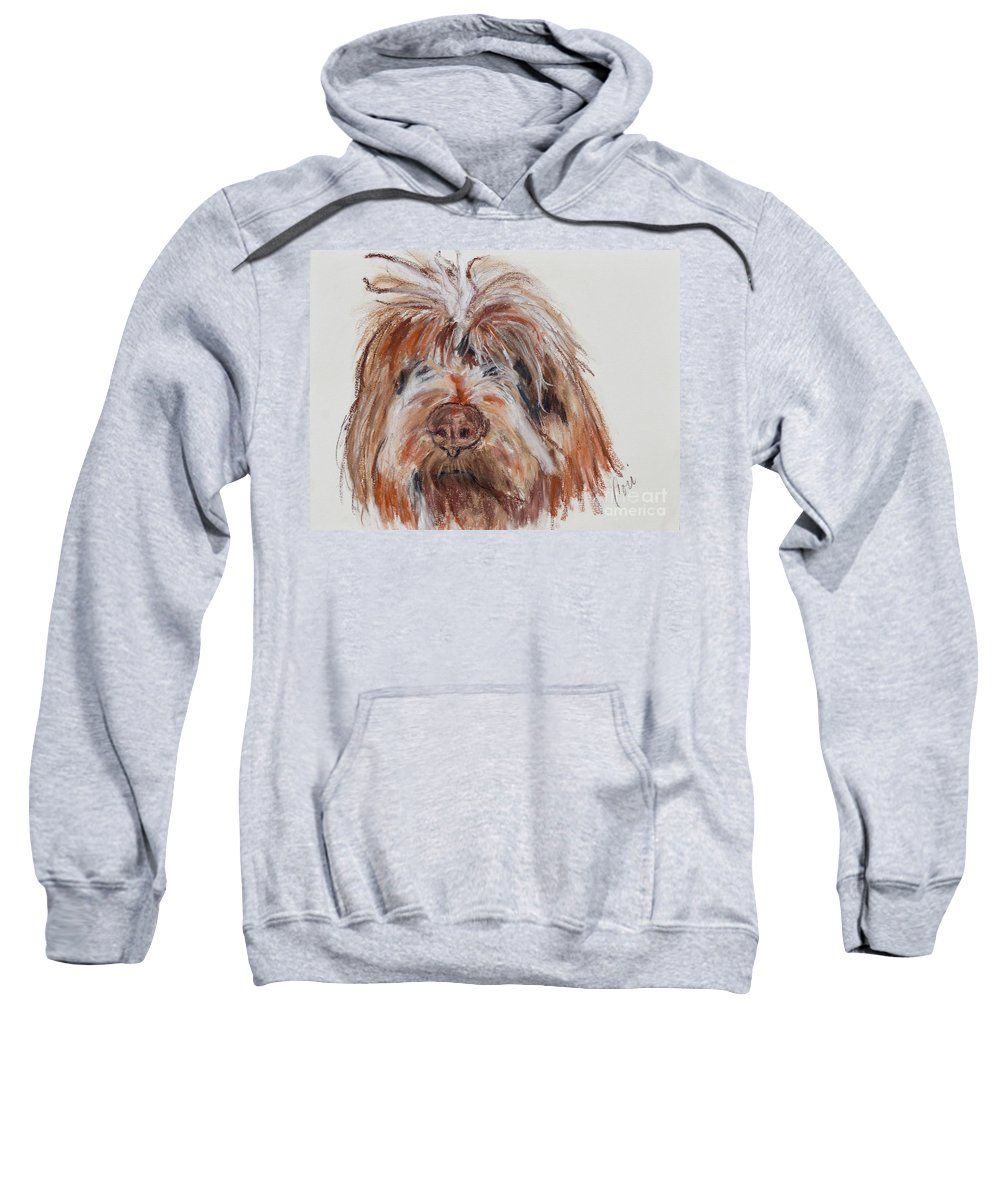 Wirehaired Pointing Griffon Sweatshirt featuring the pastel Griffin by Cori Solomon