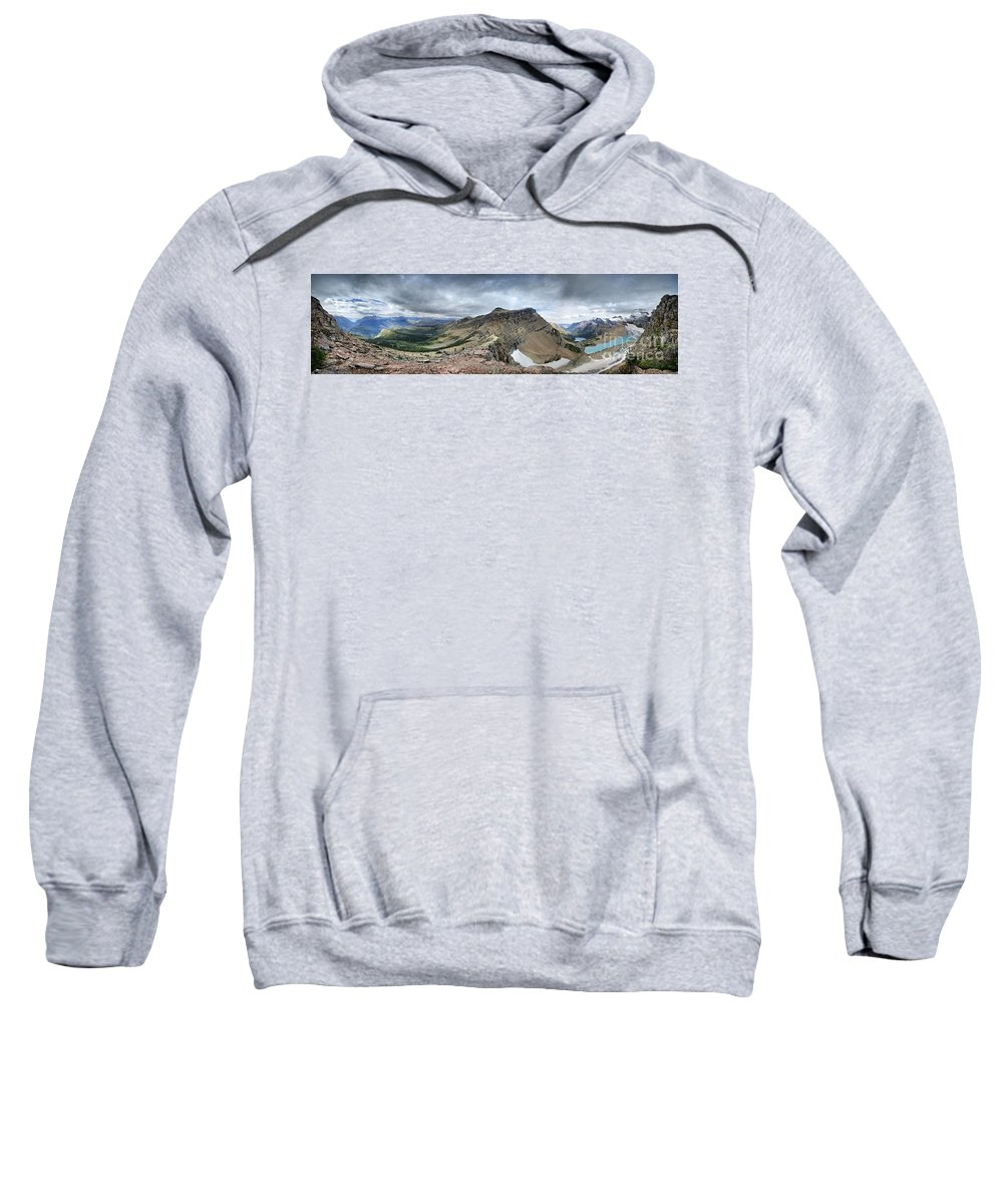 Glacier National Park Sweatshirt featuring the photograph Grinnell Glacier Overlook Panorama - Glacier National Park by Bruce Lemons