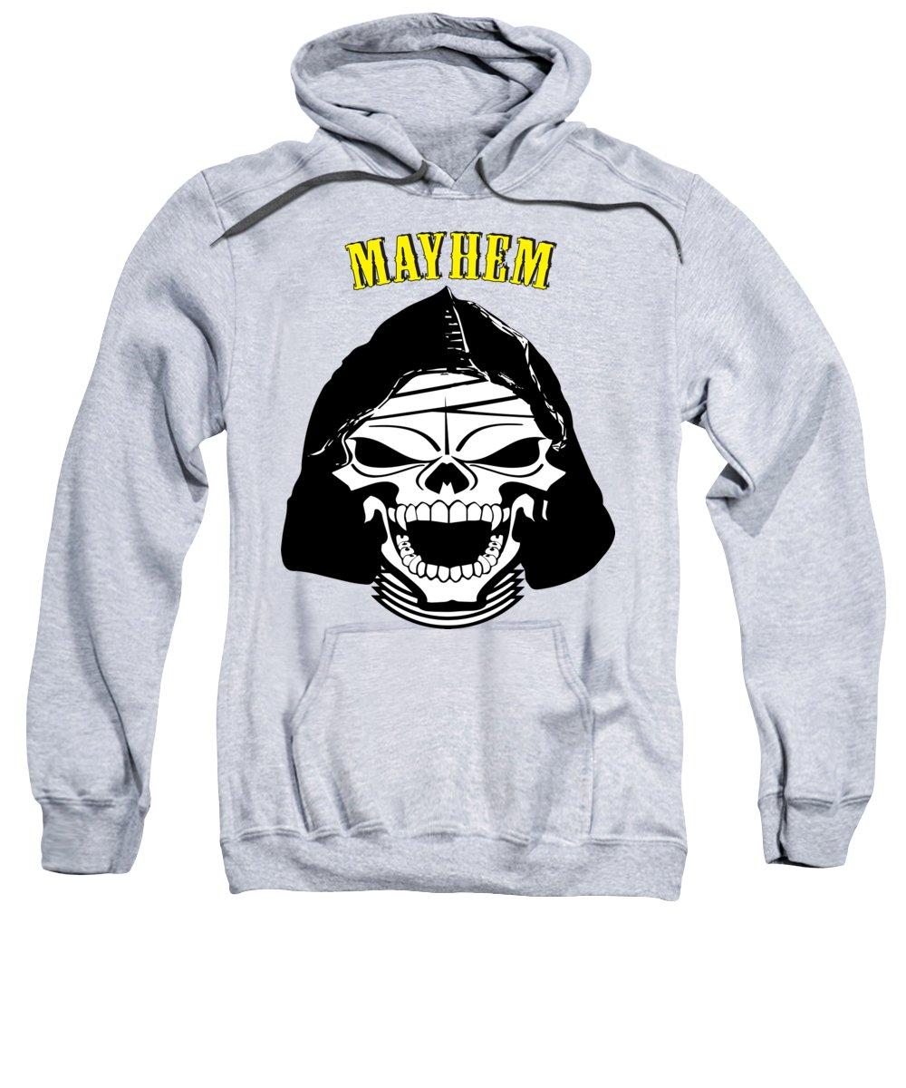 Grinning Sweatshirt featuring the digital art Grinning Mayhem Death Skull by Reggie Hart