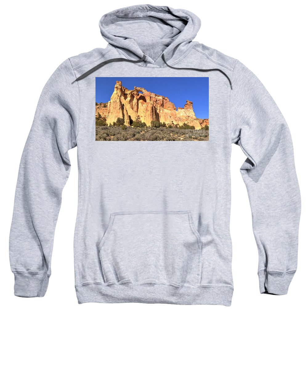 El Malpais Sweatshirt featuring the photograph Groscenor Double Arch Panorama by Adam Jewell