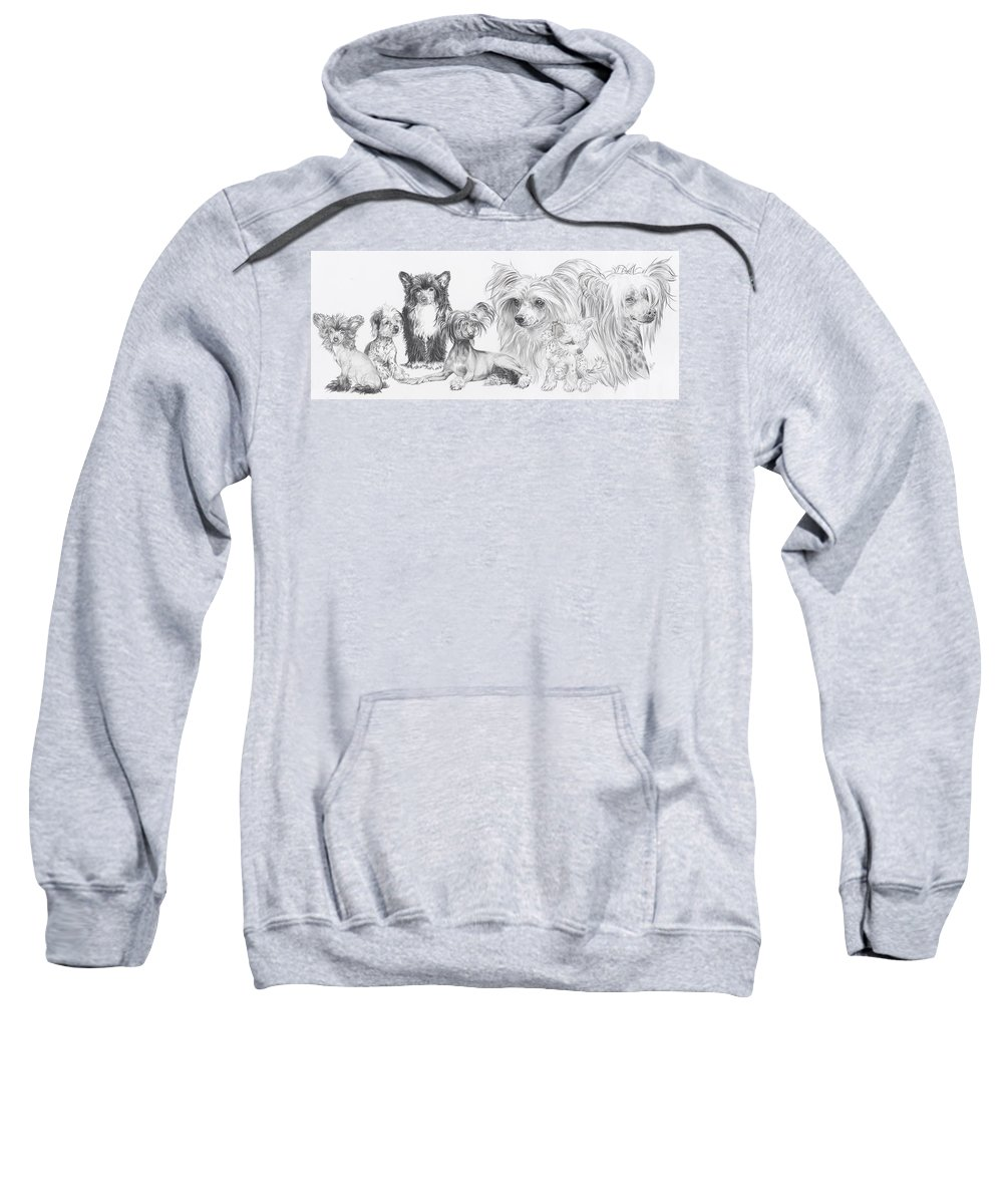 Toy Group Sweatshirt featuring the drawing Growing Up Chinese Crested And Powderpuff by Barbara Keith