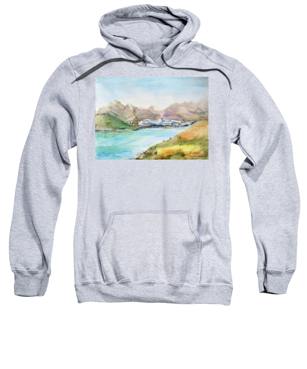 Guaymas Sweatshirt featuring the painting Guaymas Fish Plant by Diane Binder