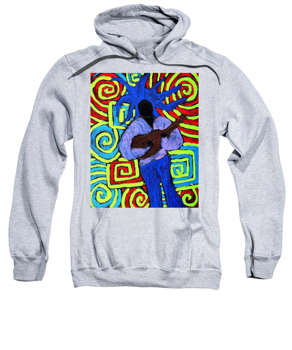 Music Sweatshirt featuring the painting Guitar Solo by Wayne Potrafka