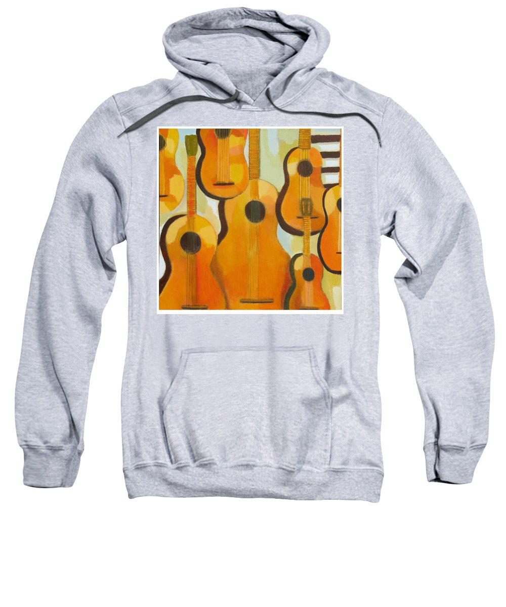 Abstract Sweatshirt featuring the painting Guitars by Habib Ayat