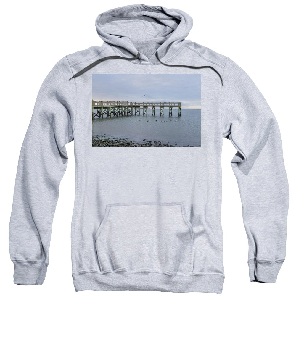 Ocean Sweatshirt featuring the photograph Gulf Pier by Barbara Blanchard