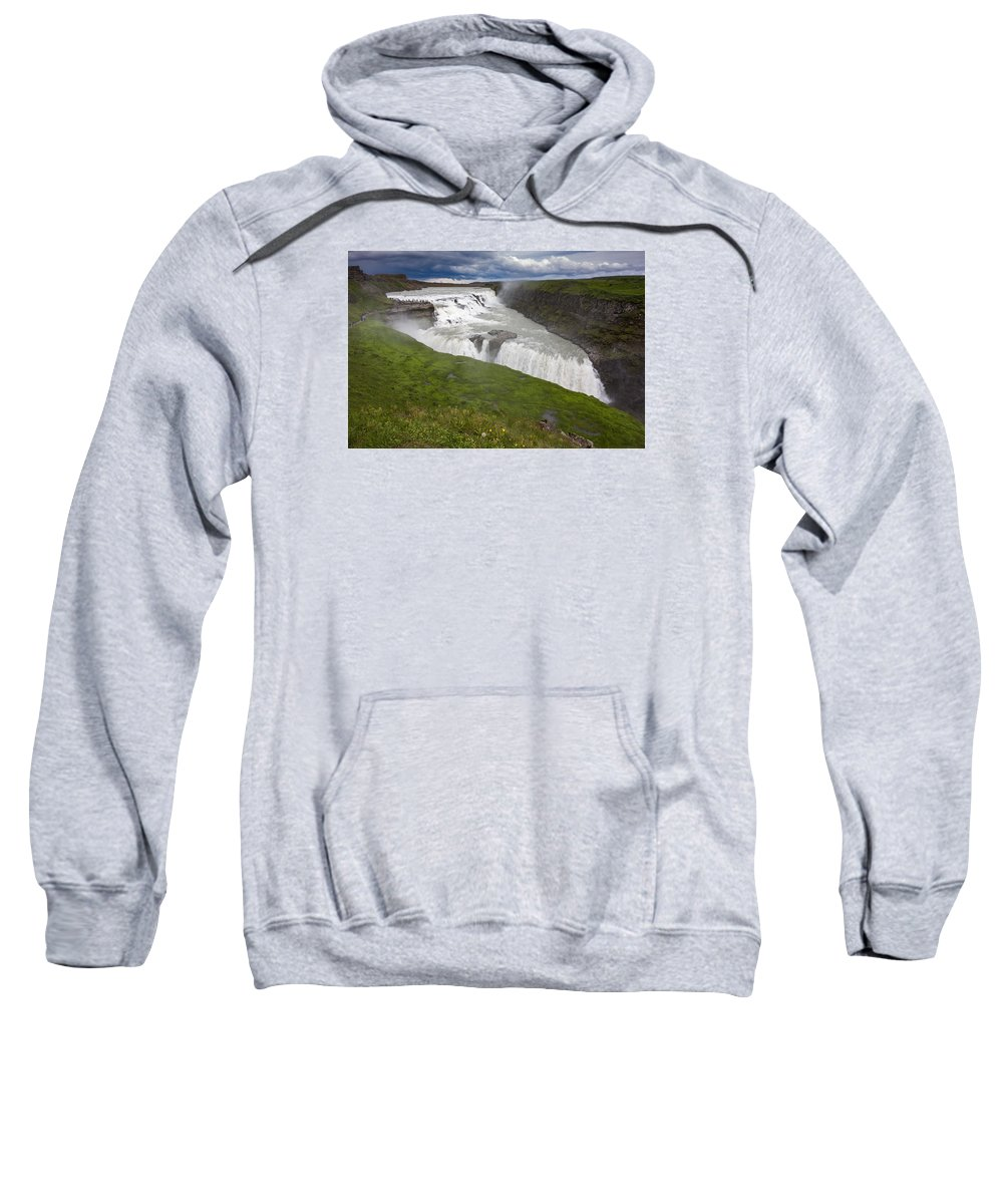 Gullfoss Sweatshirt featuring the photograph Gullfoss by Claudio Bergero