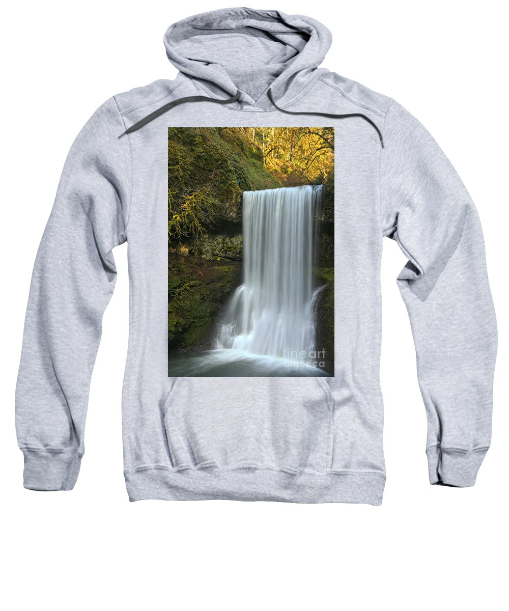 Silver Falls State Park Sweatshirt featuring the photograph Gushing At Silver Falls by Adam Jewell