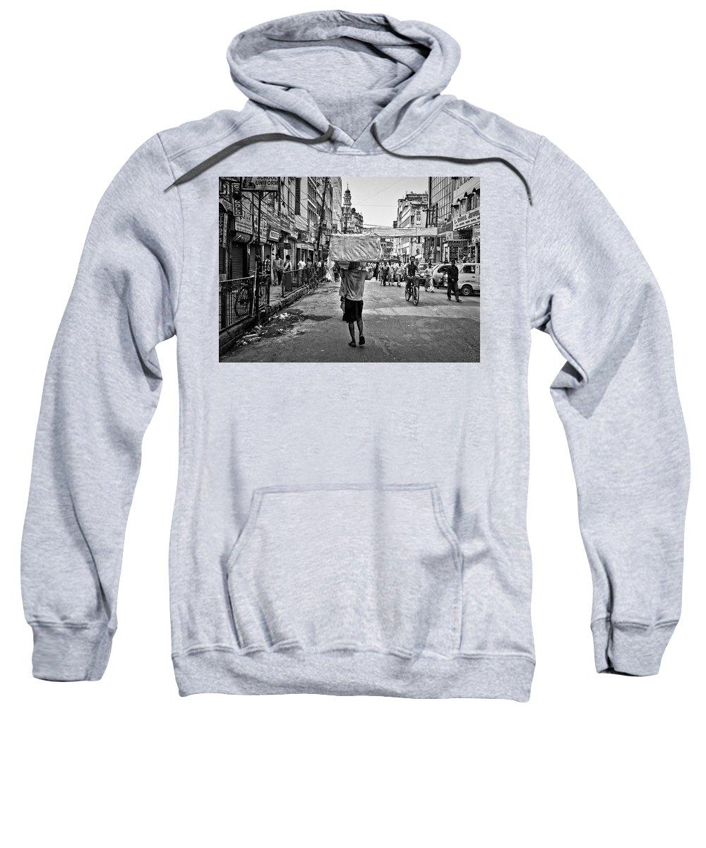 Neatimage Sweatshirt featuring the photograph Guwahati In Black And White by Roberto Pagani