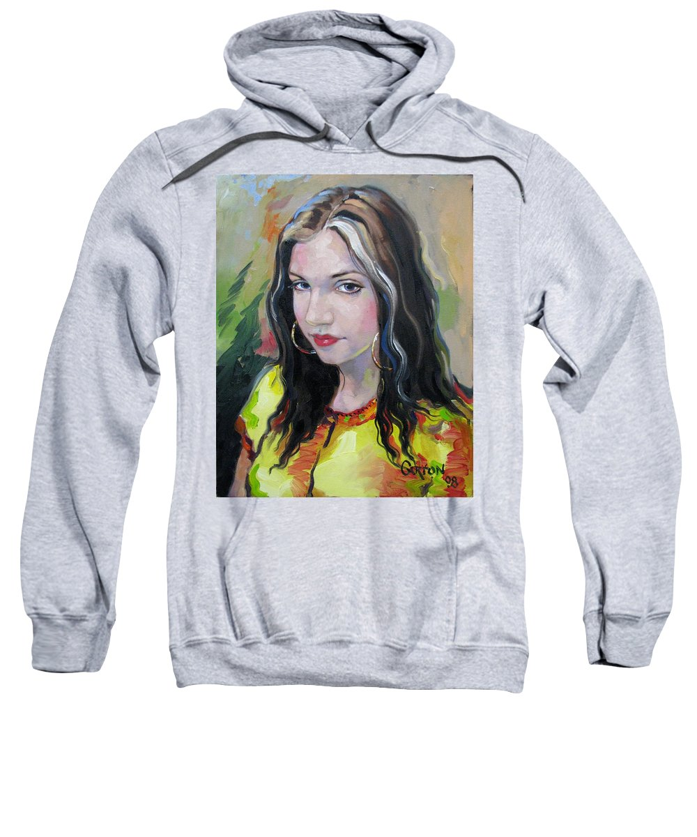 Gypsy Sweatshirt featuring the painting Gypsy Girl by Jerrold Carton