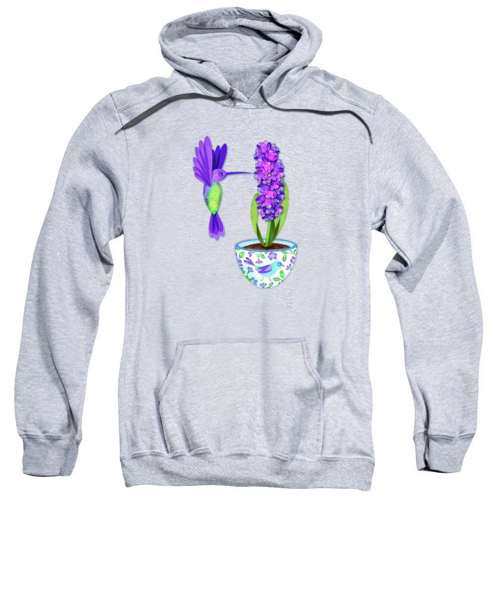 Letter Art Sweatshirt featuring the digital art H Is For Hummingbird by Valerie Drake Lesiak