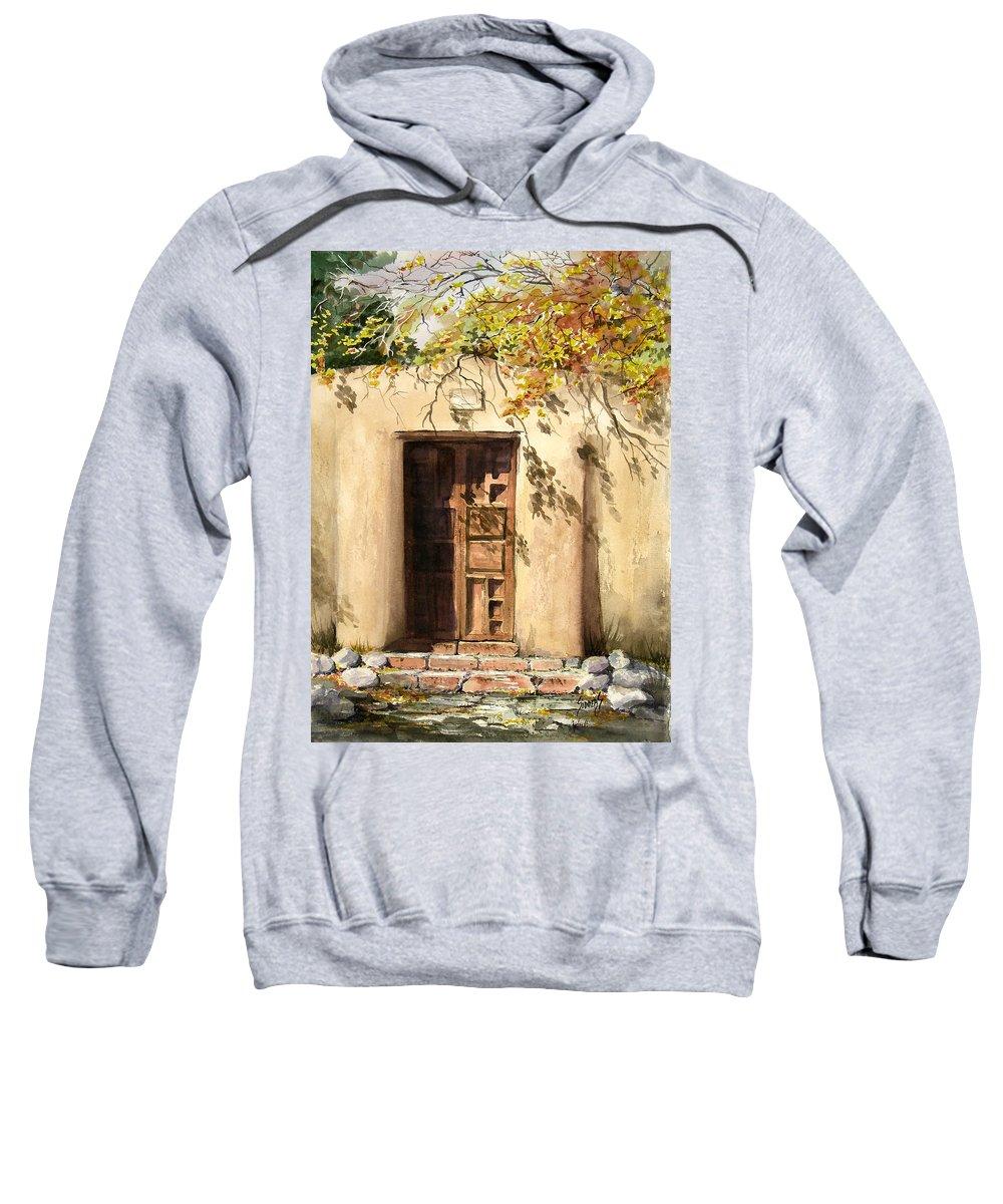 Door Sweatshirt featuring the painting Hacienda Gate by Sam Sidders