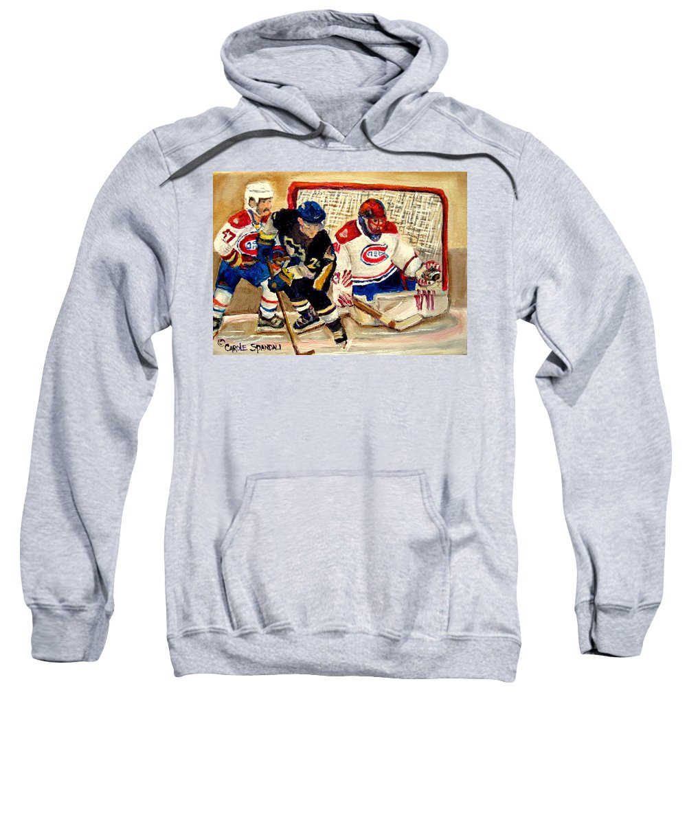 Hockey Sweatshirt featuring the painting Halak Catches The Puck Stanley Cup Playoffs 2010 by Carole Spandau