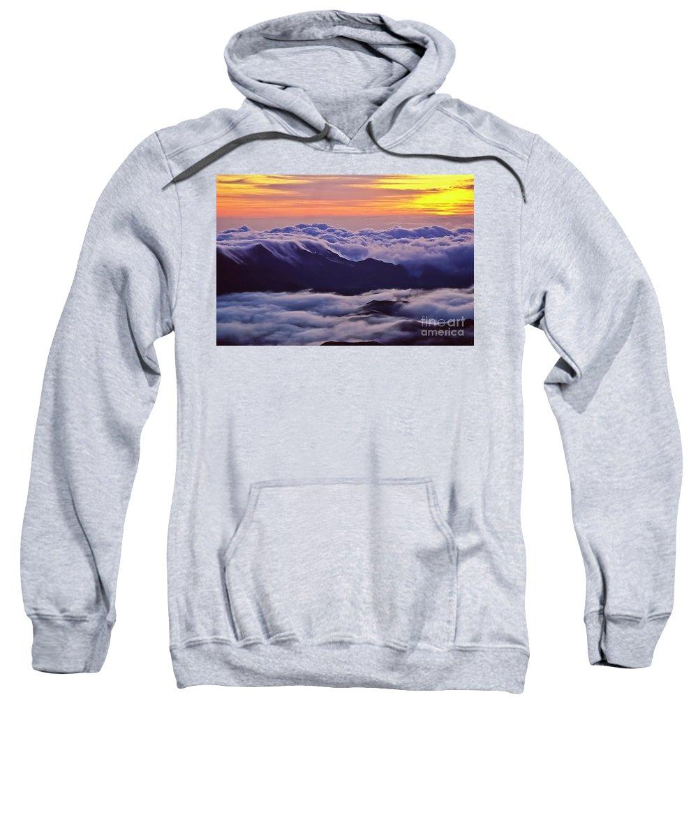 Haleakala Sweatshirt featuring the photograph Maui Hawaii Haleakala National Park Golden Dawn by Jim Cazel