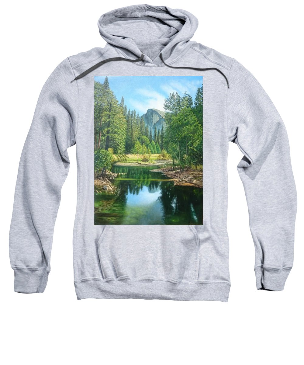 Landscape Sweatshirt featuring the painting Half Dome by Angelica Izzi
