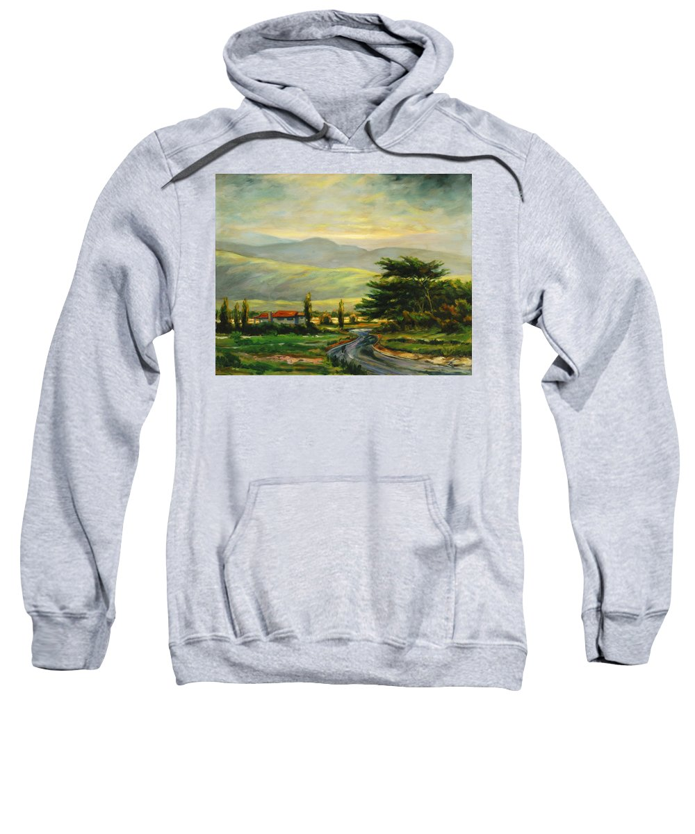 Trees Sweatshirt featuring the painting Half Moon Bay by Rick Nederlof