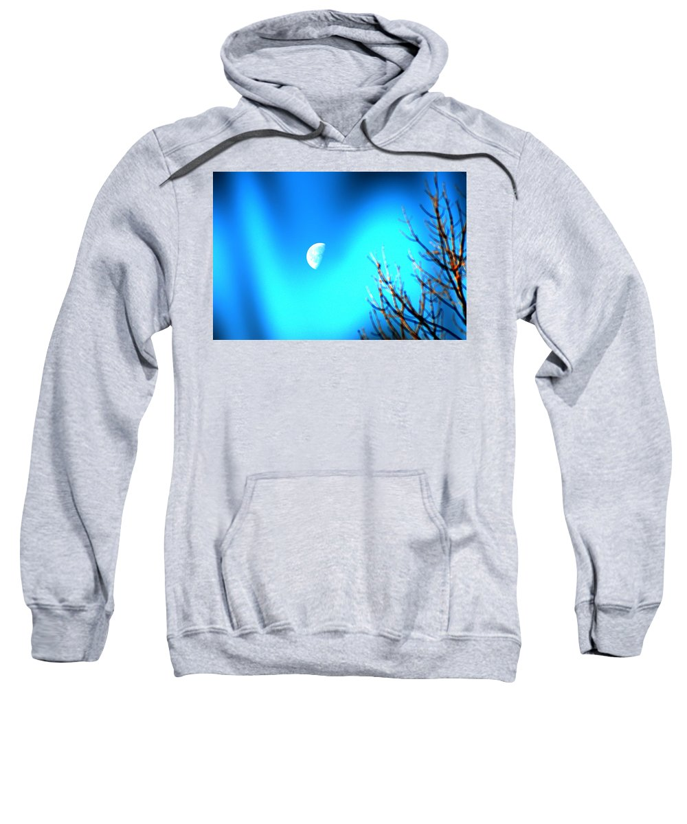 Moon Sweatshirt featuring the photograph Half Moon by Bill Cannon