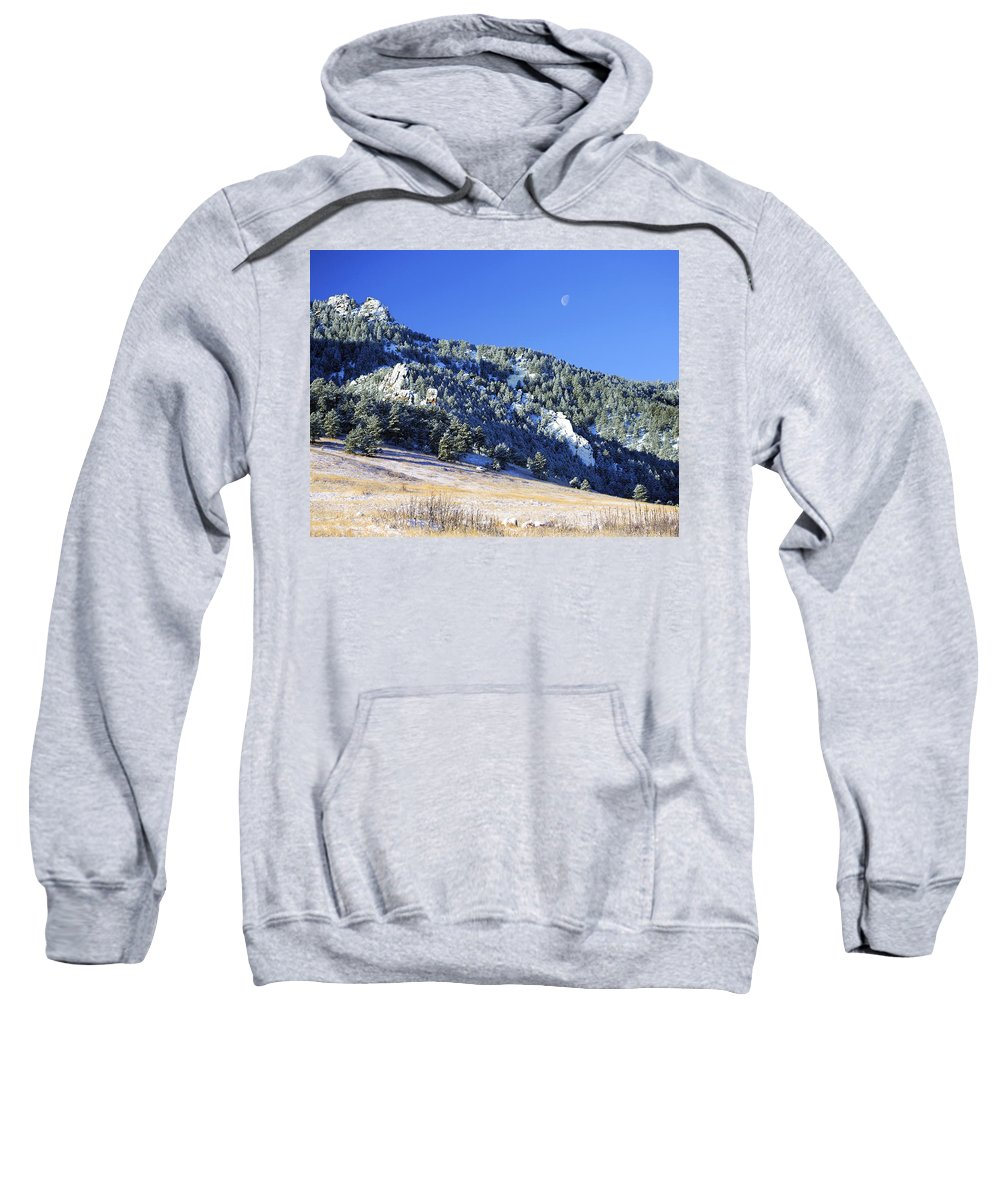 Nature Sweatshirt featuring the photograph Half Moon Over The Flatirons by Marilyn Hunt