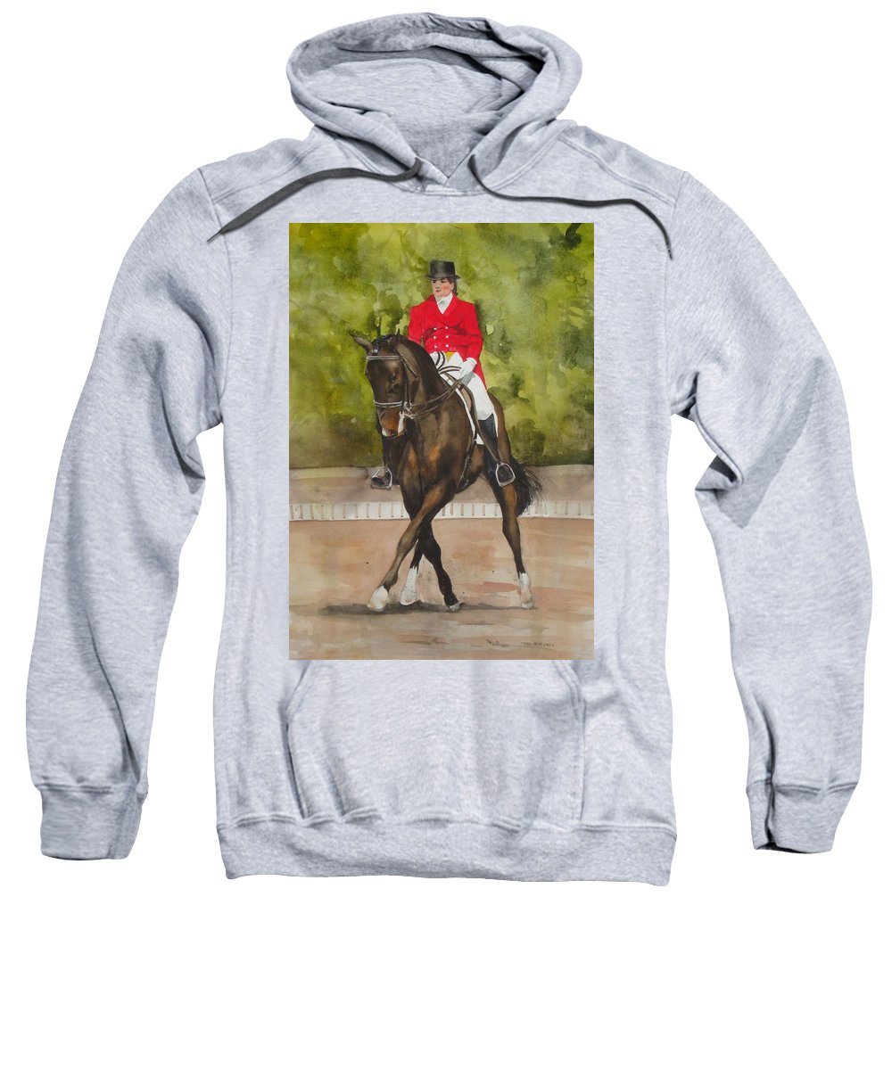 Horse Sweatshirt featuring the painting Half-pass To The Right by Jean Blackmer