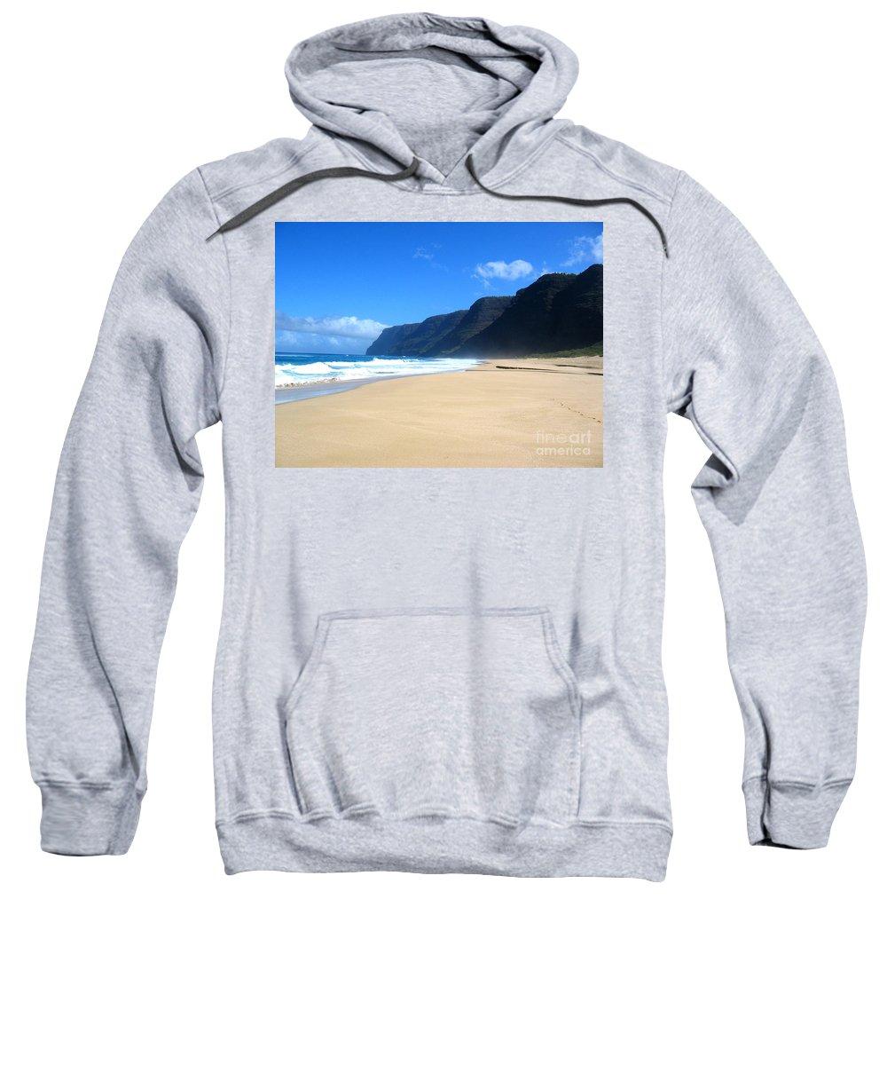 Hawaii Sweatshirt featuring the photograph Hali Pale Beach Kauai Hawaii by Thomas Marchessault