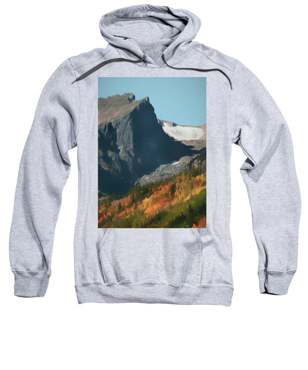 Fall Colors At Rocky Mountain National Park Sweatshirt featuring the painting Hallett Peak Fall Colors by Dan Sproul