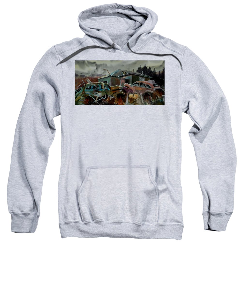 Cars Sweatshirt featuring the painting Halloween On The Hill by Ron Morrison