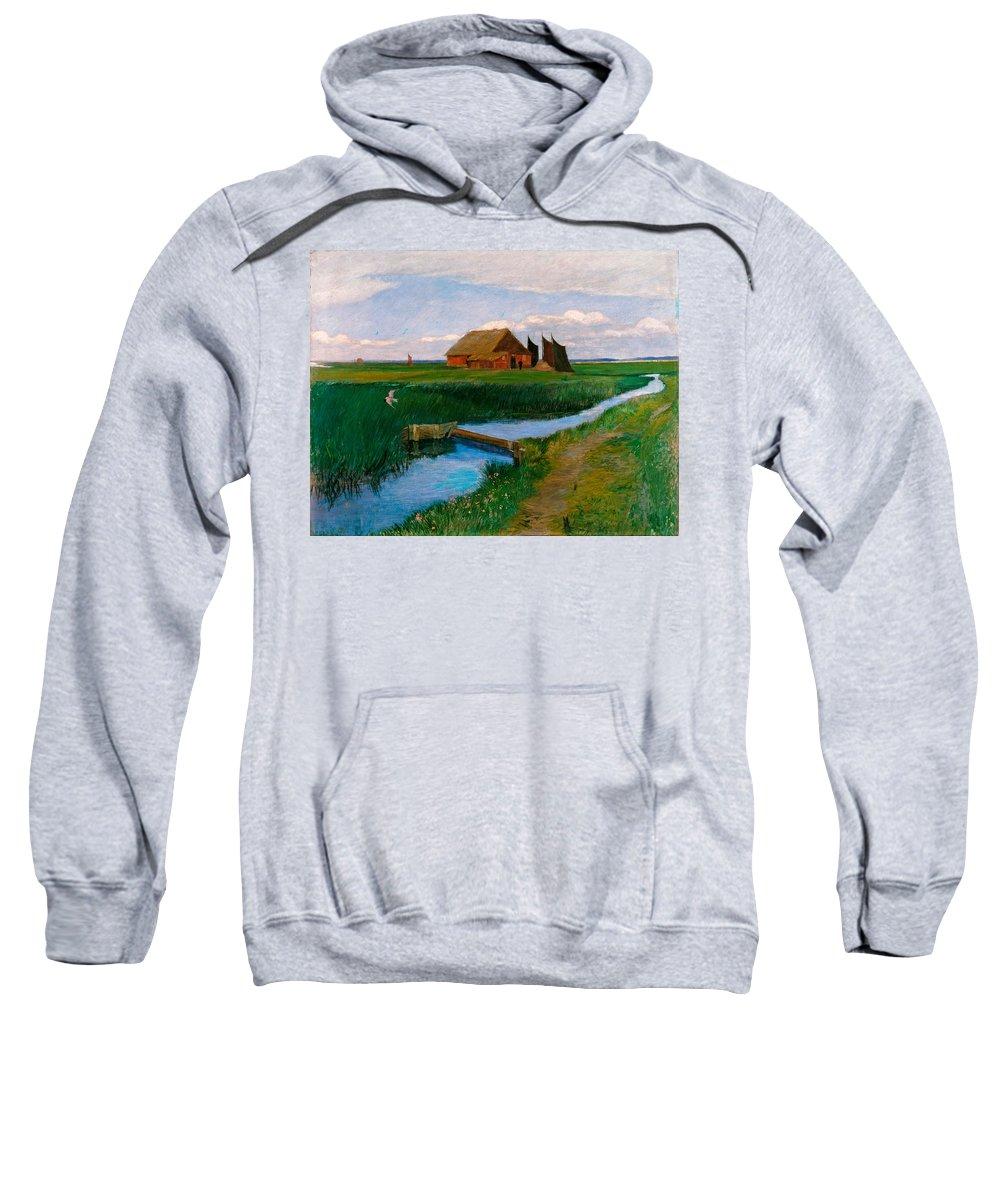 Fritz Mackensen Sweatshirt featuring the painting Hamme Huette by Fritz Mackensen