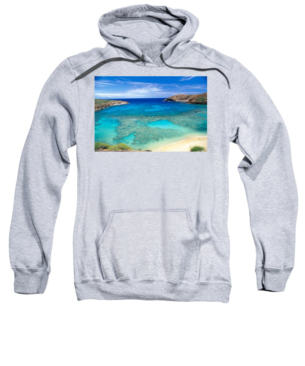 Above Sweatshirt featuring the photograph Hanauma Bay by Peter French - Printscapes