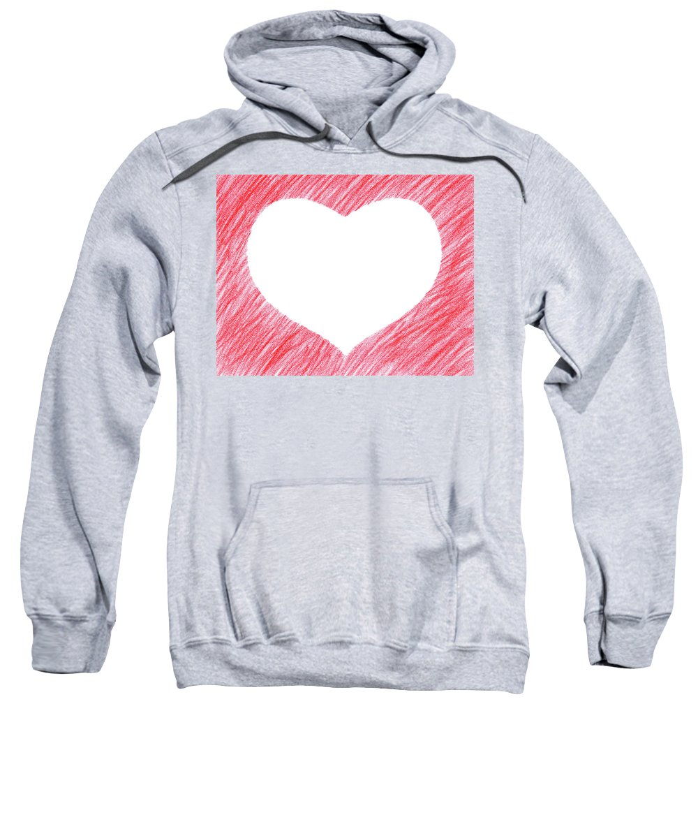 Heart Sweatshirt featuring the photograph Hand-drawn Red Heart Shape by GoodMood Art