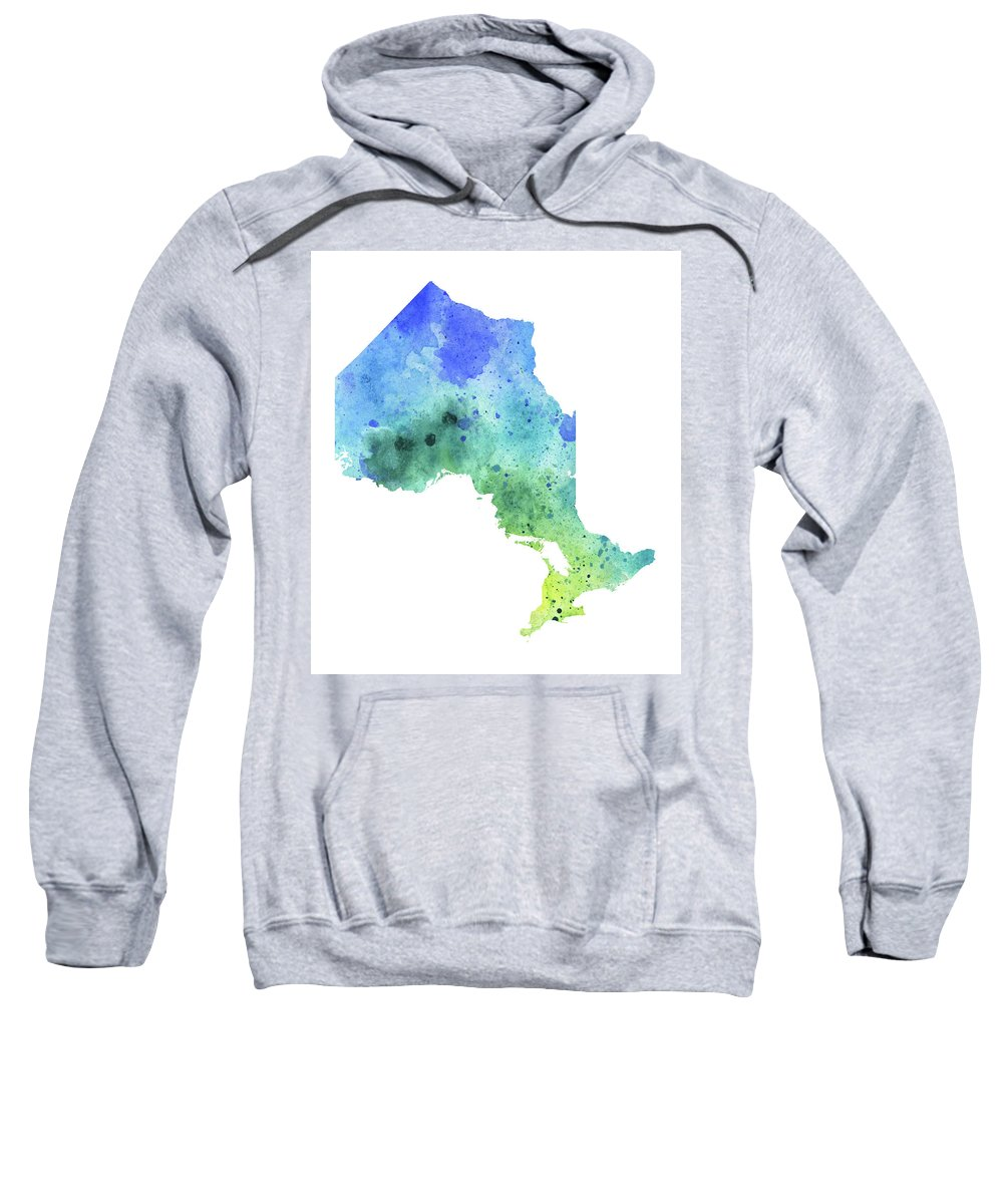 Canada Sweatshirt featuring the painting Hand Painted Watercolor Map Of Ontario, Canada In Blue And Green by Andrea Hill