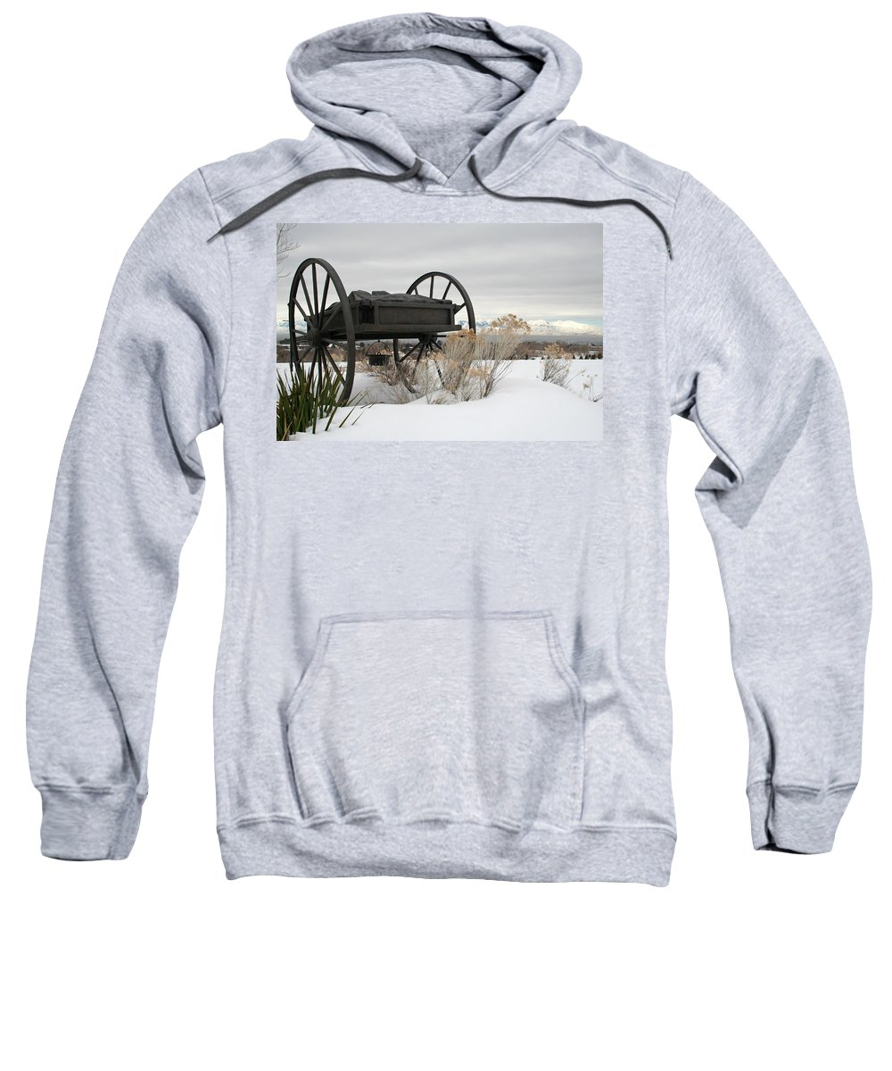 Handcart Sweatshirt featuring the photograph Handcart Monument by Margie Wildblood