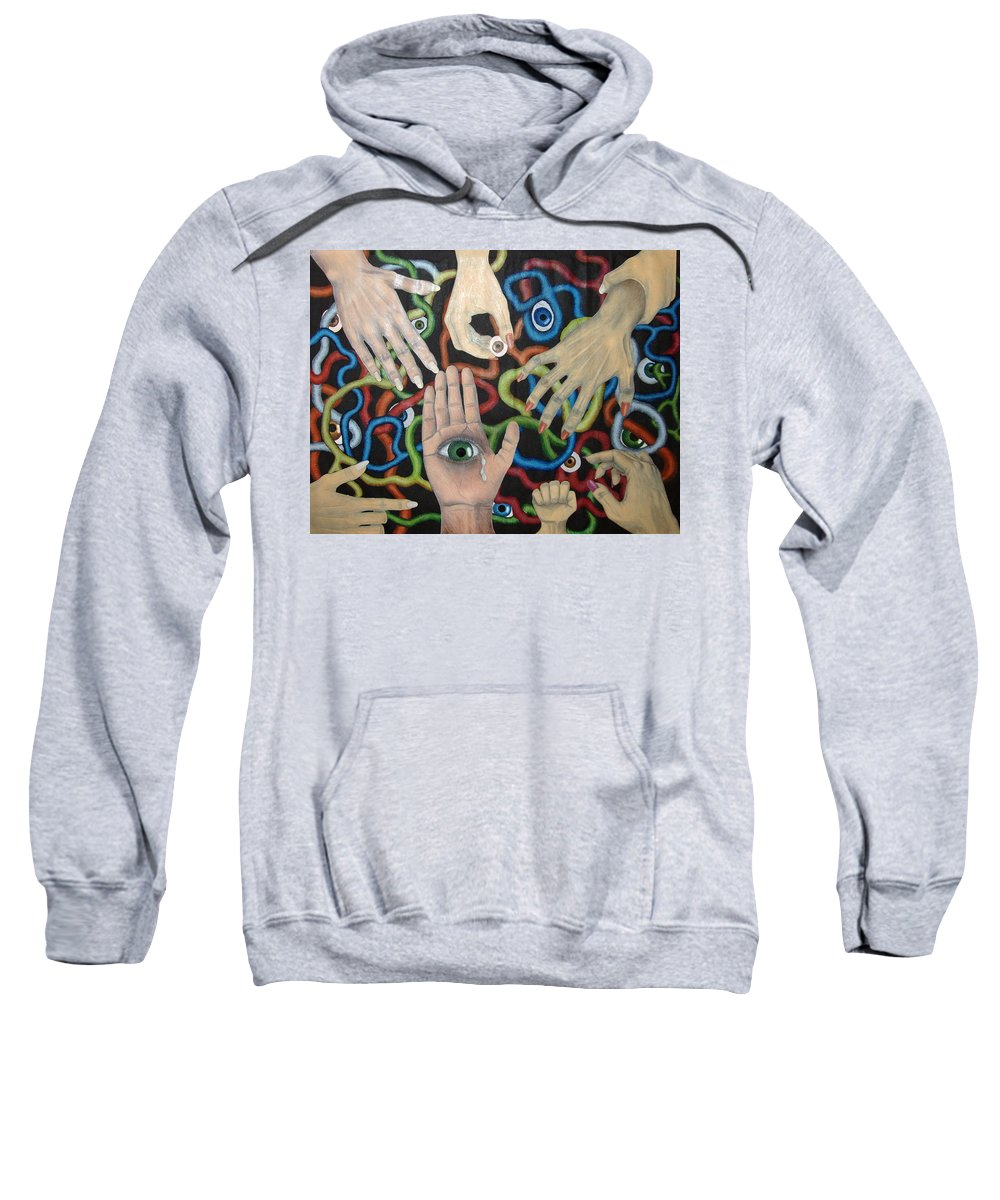 Collage Sweatshirt featuring the drawing Hands And Eyes by Nancy Mueller